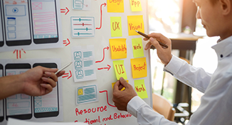 Image of planning software development on whiteboard