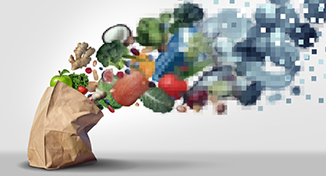 Image of Groceries evaporating into digital particles