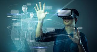 Image of Child using virtual reality technology